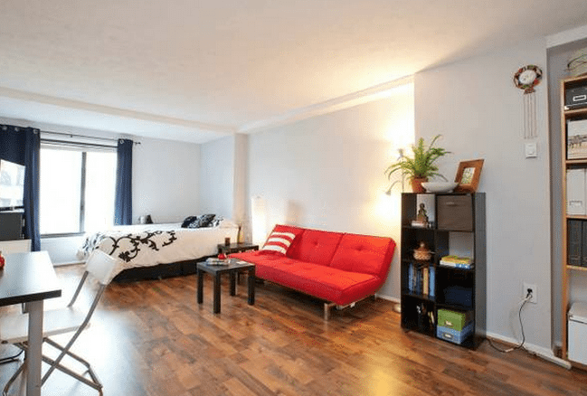 Studio apartment with a rooftop pool in Logan Circle | living room and bedroom with hardwood floors