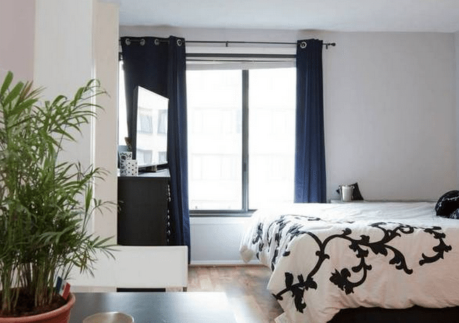 Studio apartment with a rooftop pool in Logan Circle | Bedroom with large sunny windows