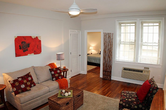 Upgraded Glover Park 2 Bedroom Apartment | Living room with hardwood floors