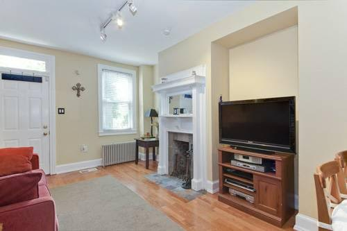 Shaw 2 Bedroom With Exposed Brick Galore | Living Room With Fireplace