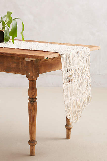 Hand Woven Macrame Table Runner | Decorating Your Thanksgiving Table | Apartment Decorating