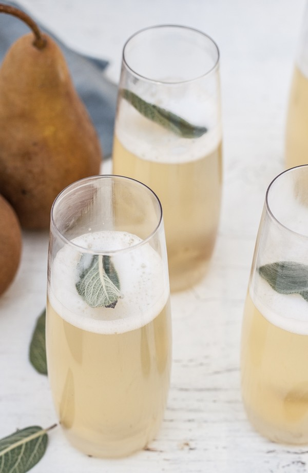 Festive Champagne Cocktails: Pear Ginger Sage Cocktail | Celebrating New Year's Eve In Your Apartment