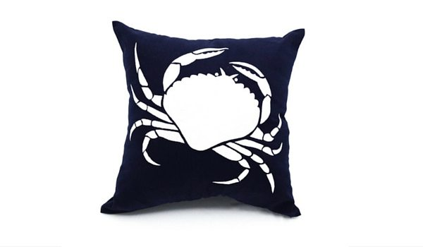Apartminty Fresh Picks: Coastal Accessories For Your Apartment | Navy Blue Crab Throw Pillow