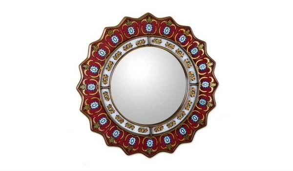 Apartminty Fresh Picks: Bohemian Chic Apartment Decor | Novica Red Reverse Painted Round Mirror