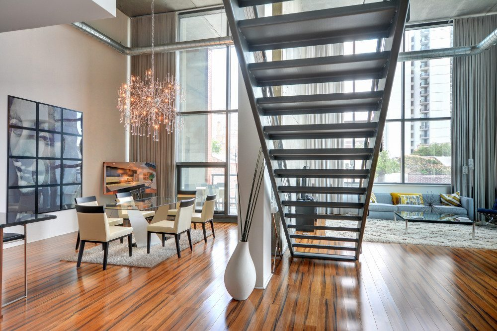 1352 Lofts | Converted Loft-Style Apartments In Philadelphia, PA | Living Room With Floating Staircase