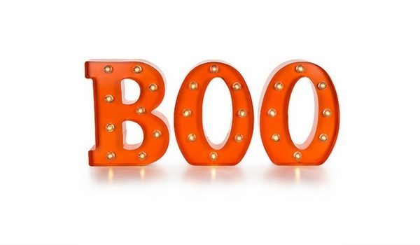 "Apartminty Fresh Picks: Throwing A Grown-Up Halloween Party In Your Apartment | LED Light Up Metal ""BOO"" Marquis Sign"