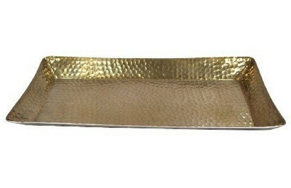 Apartminty Fresh Picks | Trays To Control Clutter | Hammered Gold Serving Tray