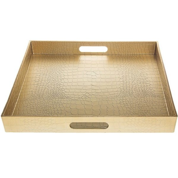 Apartminty Fresh Picks | Trays To Control Clutter | Square Gold Alligator Serving Tray