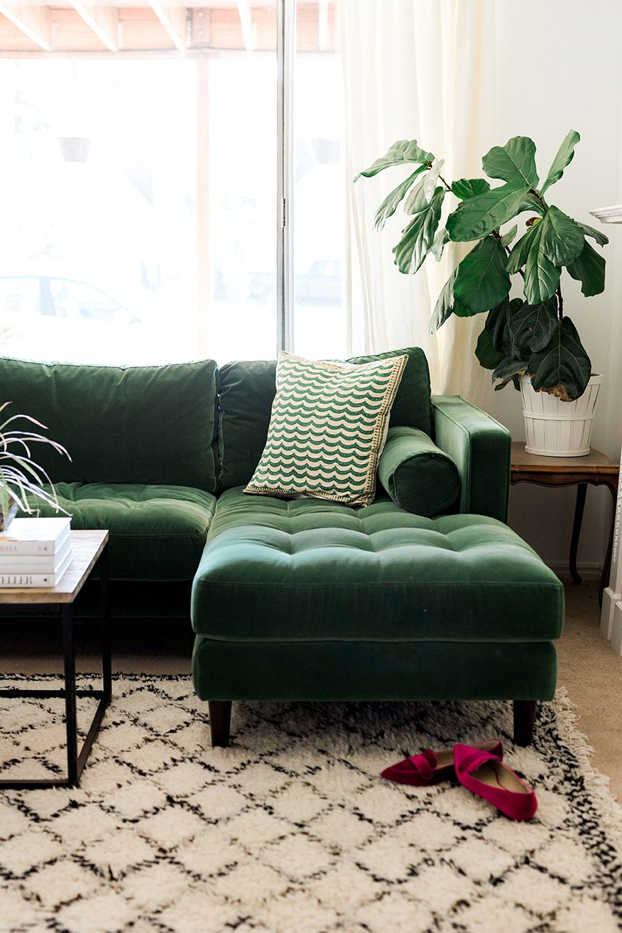 Pantone's Color Of The Year Greenery | Decorating Your Apartment | Green Statement Couch
