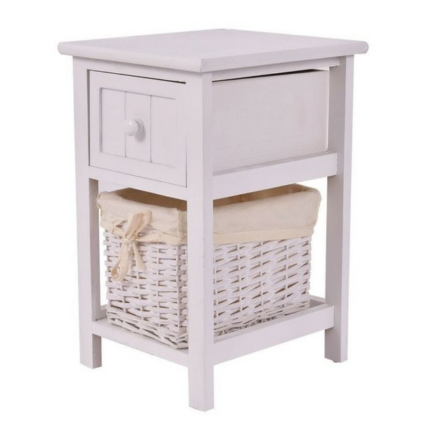 Apartment Furniture For Small Spaces | Furniture With Storage | White Bedside Table With Drawer & Basket Storage