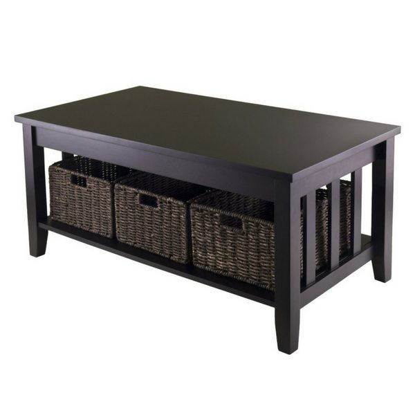 Apartment Furniture For Small Spaces | Furniture With Storage | Coffee Table With 3 Foldable Storage Baskets