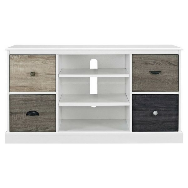 Apartment Furniture For Small Spaces | Furniture With Storage | Multicolored Wood Grain TV Console