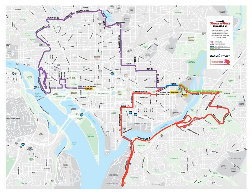 Rock 'n' Roll Marathon 2017 DC Road Closures & Route Map