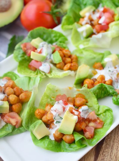 Lightened Up Summer Recipes | Healthy Recipes | Buffalo Chickpea Lettuce Wraps