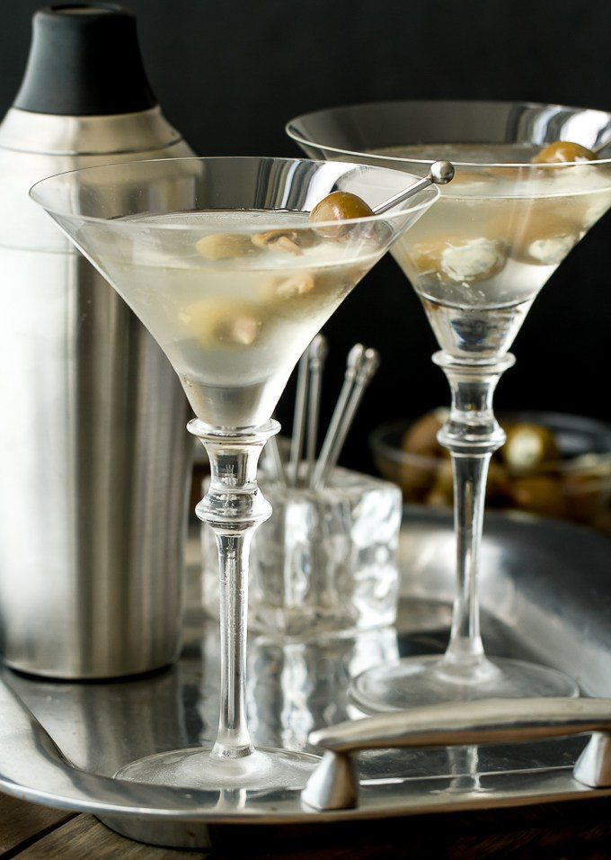 National Martini Day | Gin Martini With Anchovy And Bleu Cheese Stuffed Olives