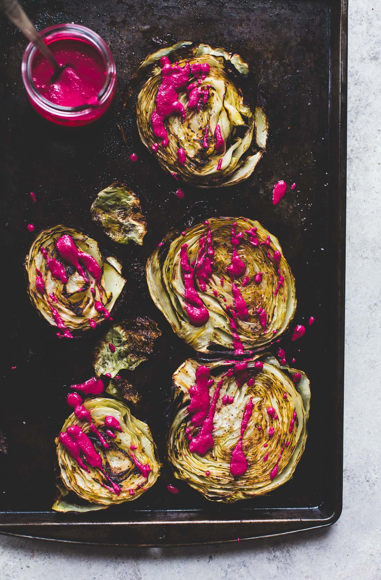 Easy Side Dishes | Roasted Cabbage Steaks With Garlicky Beet Sauce