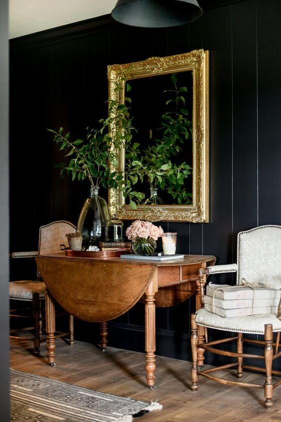 Winter Blues | Dark, Moody Decor | Black Walls and Vintage Furniture
