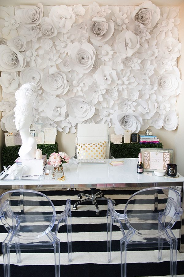 Big, Bold Floral Decor | Design Inspiration | Office With White Paper Flower Wall Art