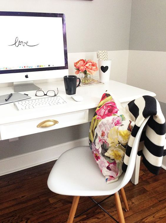 Big, Bold Floral Decor | Design Inspiration | Home Office With Black and White Stripes and Floral Pillow