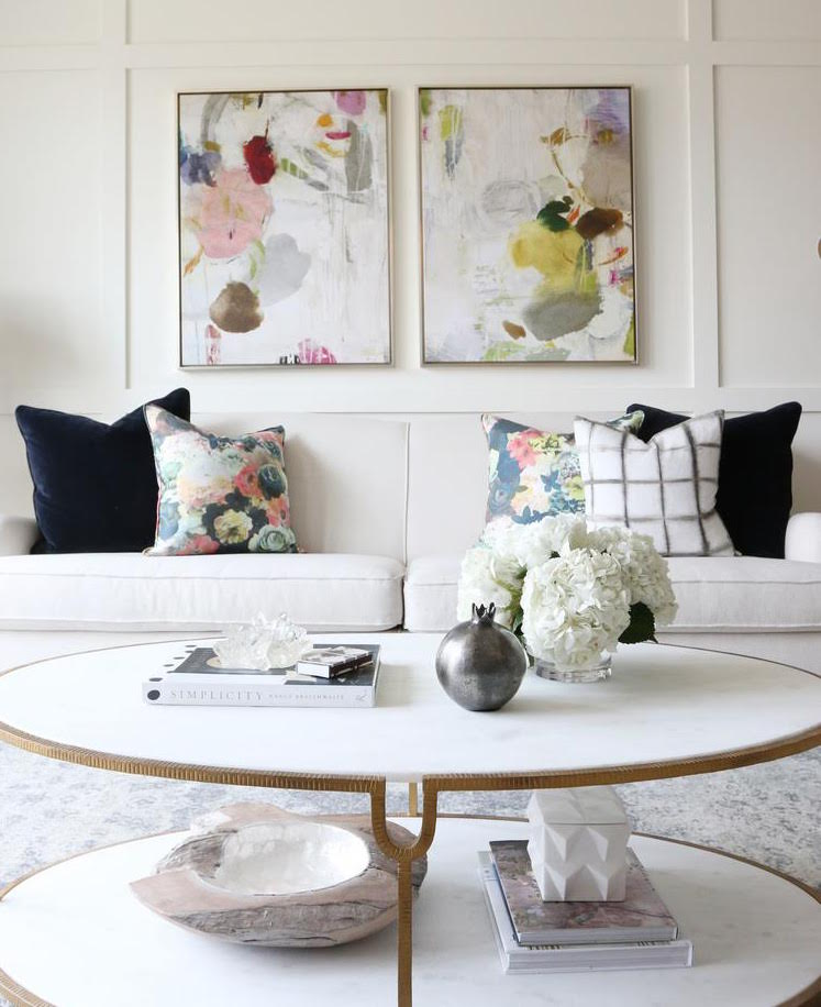 Big, Bold Floral Decor | Design Inspiration | Black and White Living Room With Floral Pillows and Print Art
