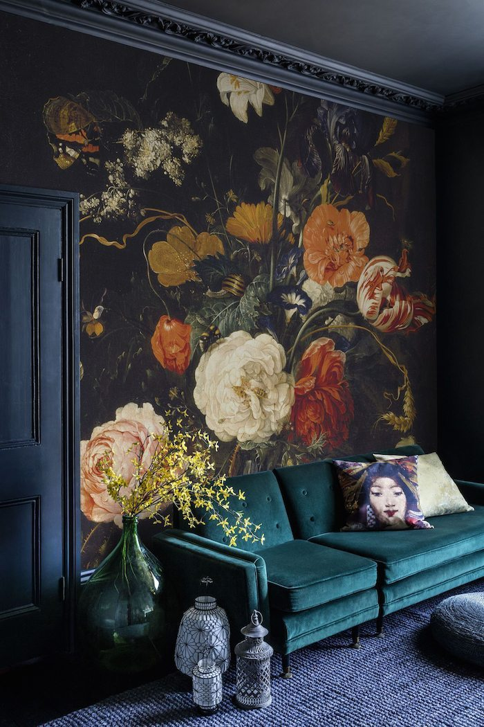 Big, Bold Floral Decor | Design Inspiration | Dark Floral Wallpaper with Emerald Green Couch