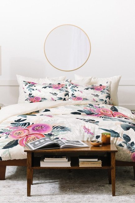 Big, Bold Floral Decor | Design Inspiration | White, Pink and Green Floral Bed Spread