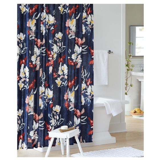 Big, Bold Floral Decor | Design Inspiration | Blue, Red and White Flower Print Shower Curtain