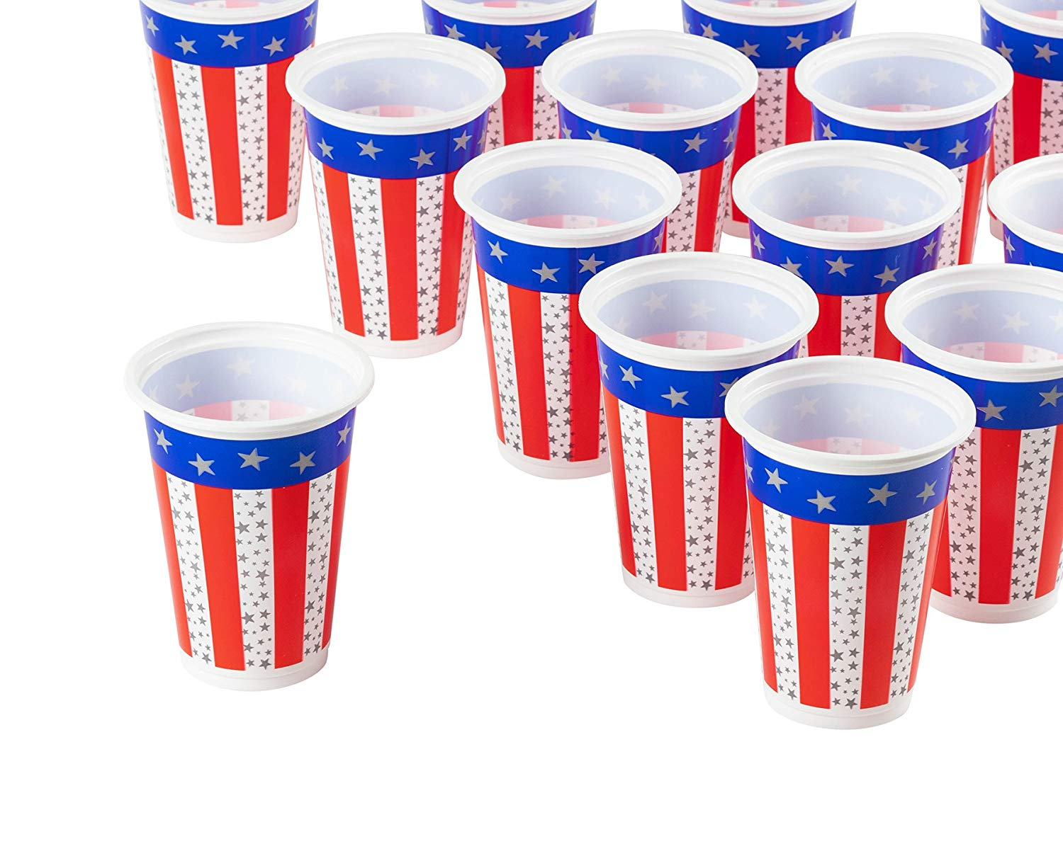 Fourth of July Red, White & Blue Accessories | American Flag Plastic Party Cups