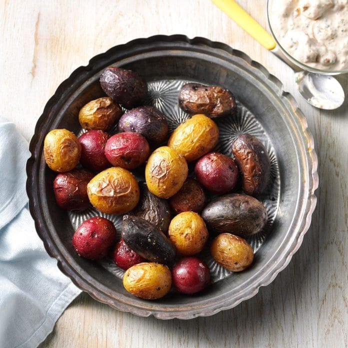 Fourth of July BBQ Recipes | Patriotic Roasted Potatoes With Mustard Sauce