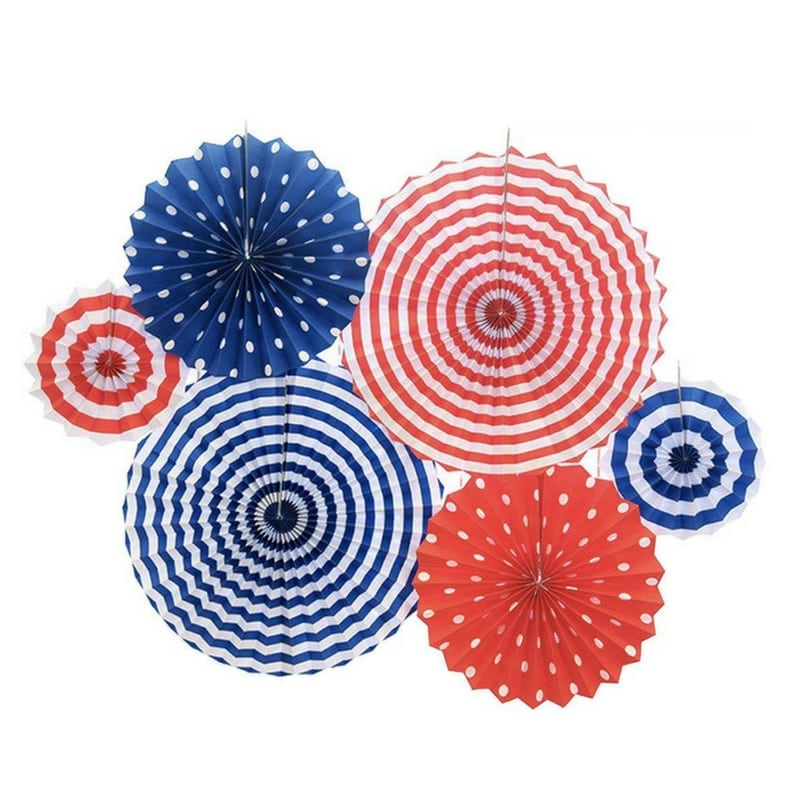 Fourth of July Red, White & Blue Accessories | Paper Fan Decor