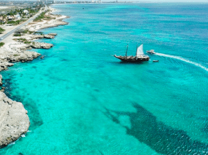aruba sailboat from overhead