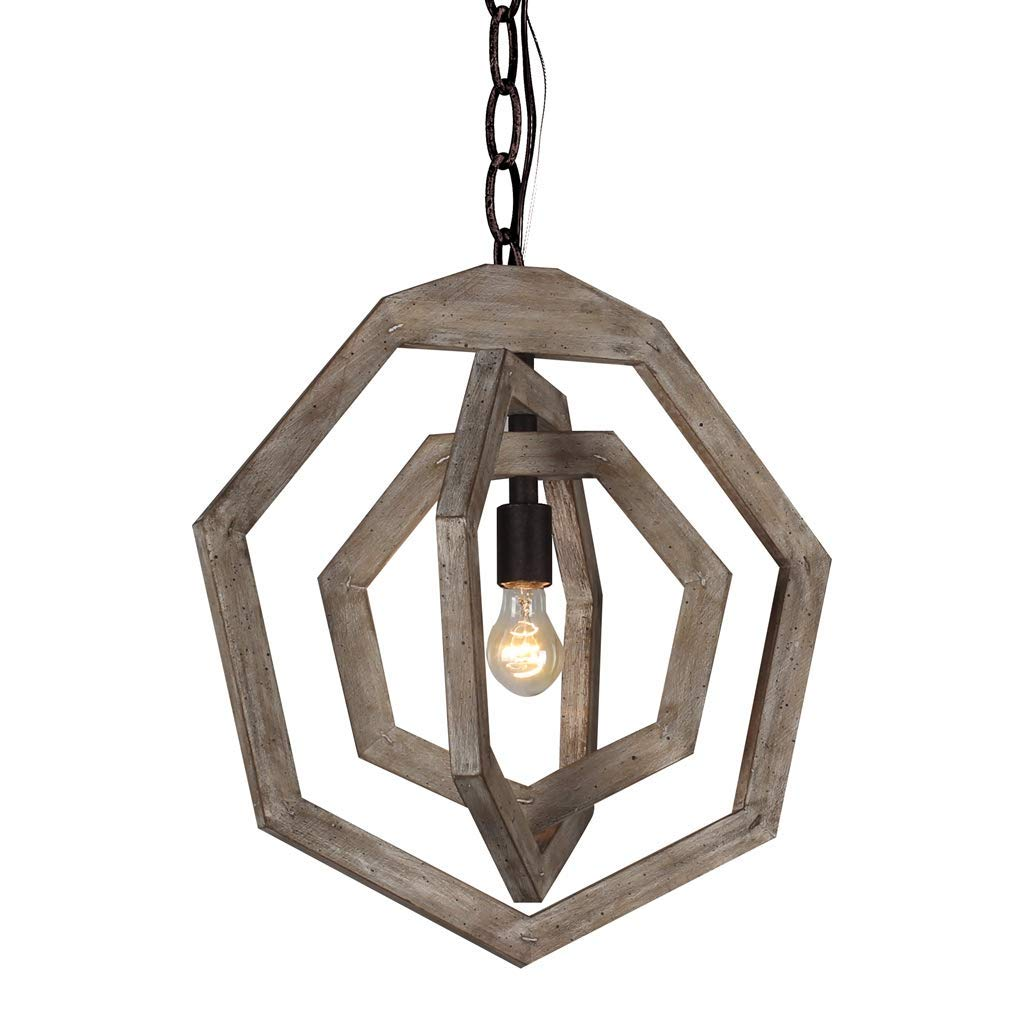 Farmhouse Vibes | Apartment Decor | Rustic Iron and Wood Pendant Light